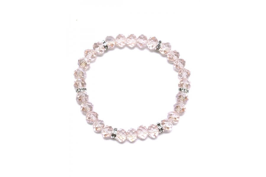 Pink Glass Bead and Rondel Elasticated Bracelet