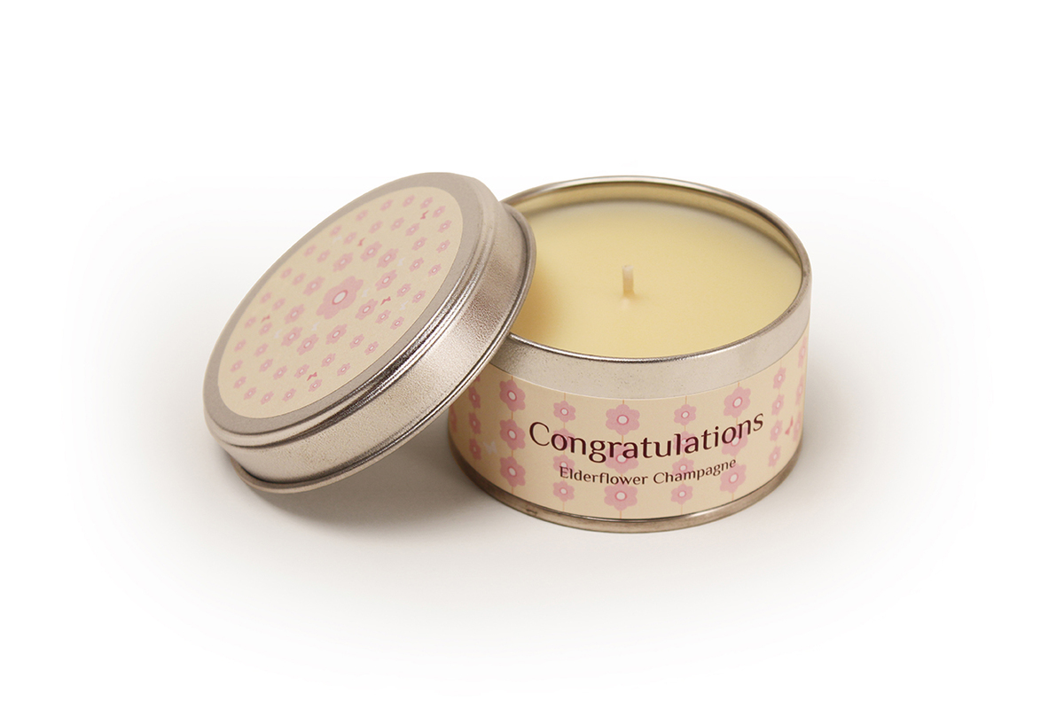 Congratulation - Elderflower Champagne Fragranced Candle Tin