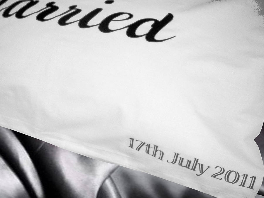 Just Married Pillow Cases Personalised