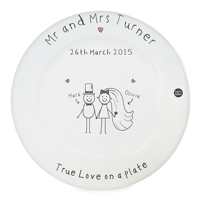 Purple Ronnie Wedding Message Plate