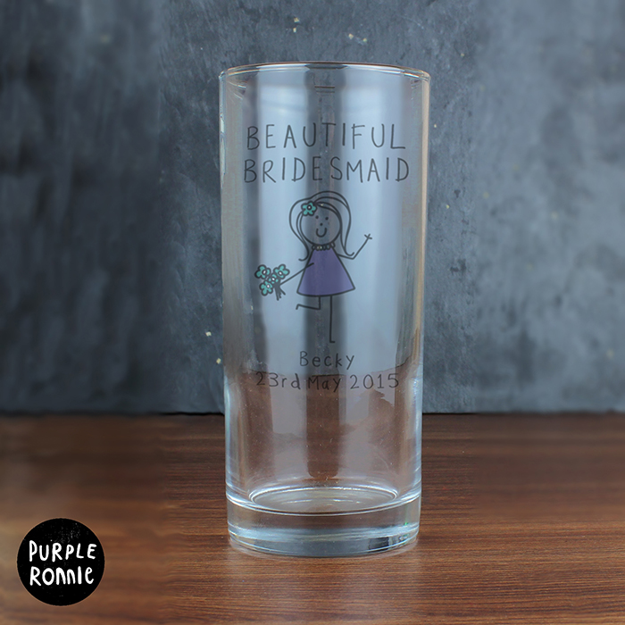 Purple Ronnie Female Wedding Hi Ball Glass