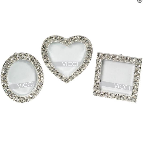 3 Diamante Mini Photo Frames