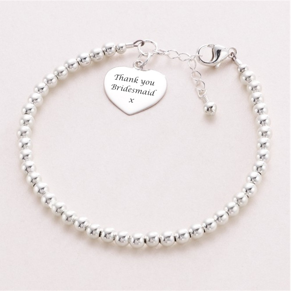 Silver Beads Bracelet with Engraving