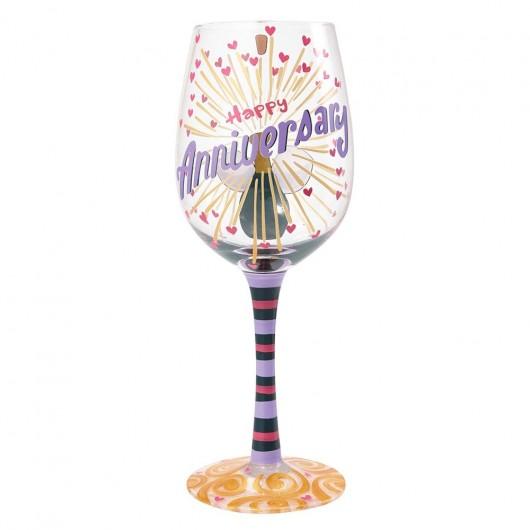 Happy Anniversary Wine Glass