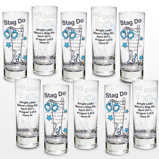 Set of Ten Personalised Stag Do Shot Glasses