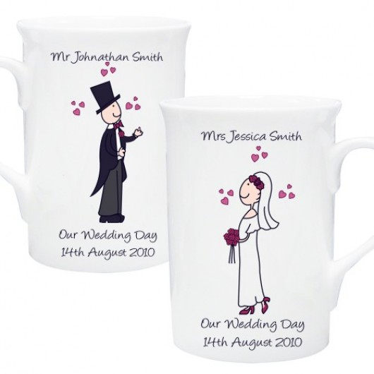 Personalised Bride & Groom Mug Set