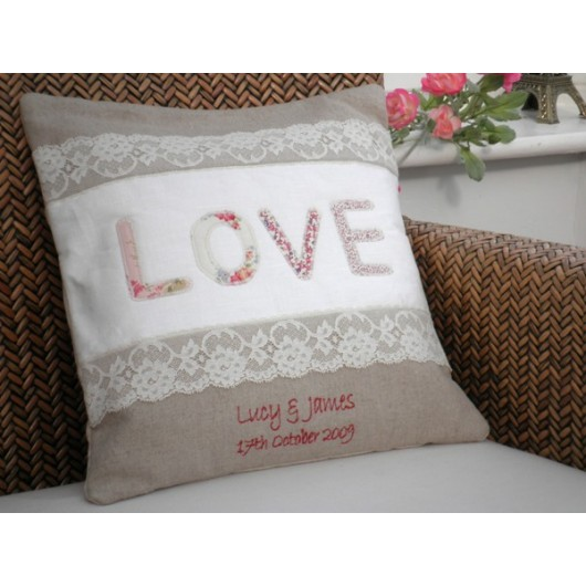 Embroidered Personalised Love Cushion - Vintage Style