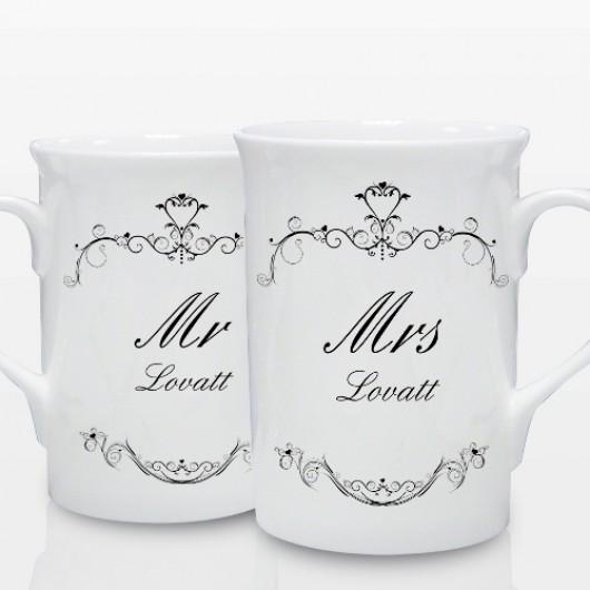 Personalised Ornate Swirl Couple's Mug Set