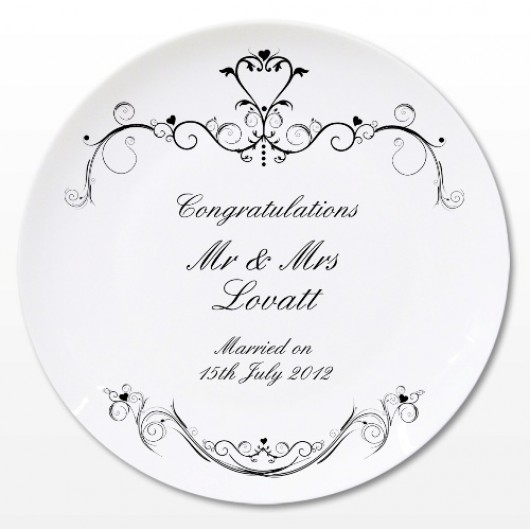 Personalised Ornate Swirl Plate with Gift Box