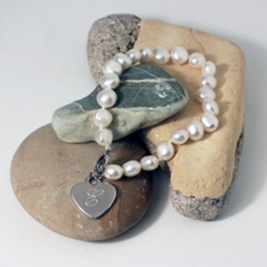 White Freshwater Pearl Initial Bracelet
