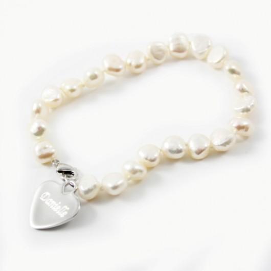 White Freshwater Pearl Name Bracelet