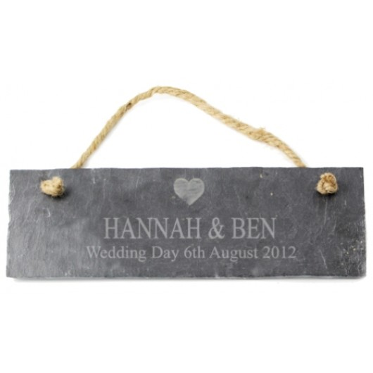 Personalised Heart Motif Slate Door Plaque