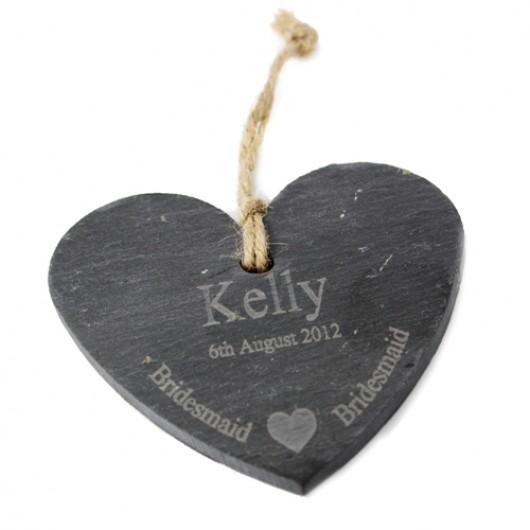 Personalised Bridesmaid Slate Heart Decoration