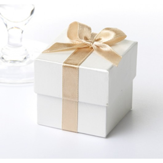 Ribbon Favour Boxes 10 Pack - Cream with Gold Ribbon