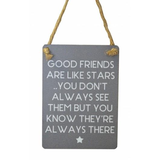 Good Friends Stars Mini Grey Metal Sign