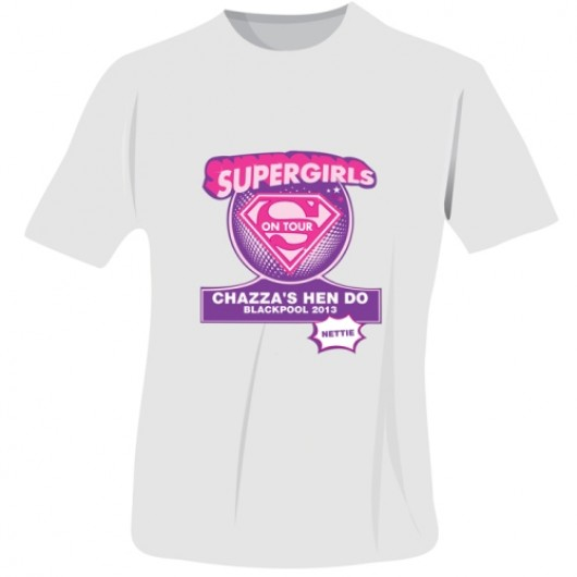 Personalised Supergirls Hen Do T-Shirt in White