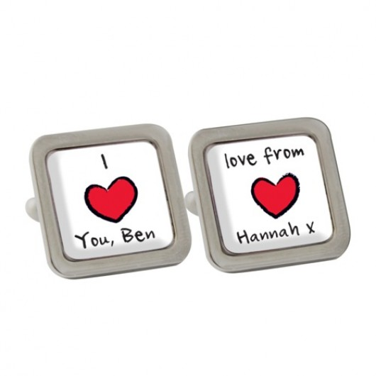 Personalised Red Heart Cufflinks