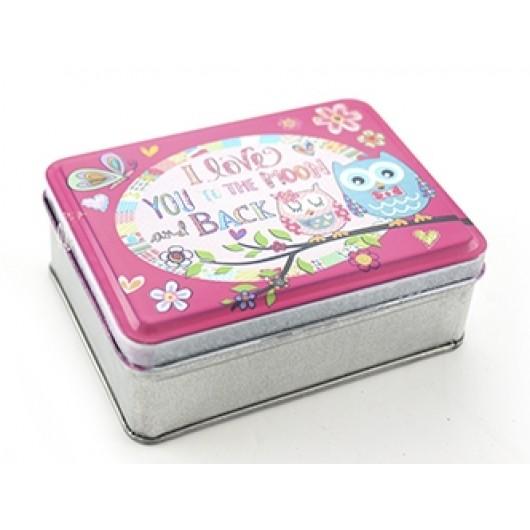 Cutie Owl Moon & Back Tin Box