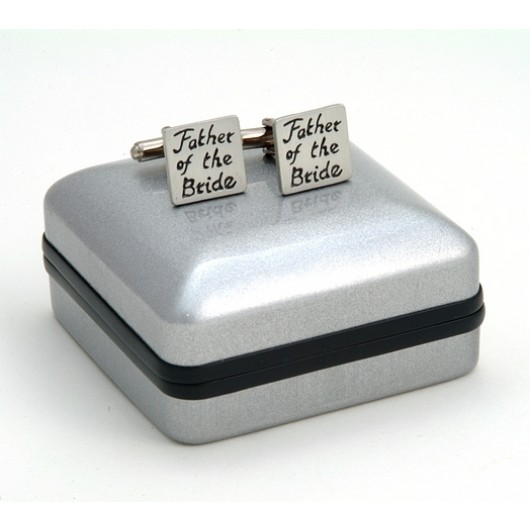 "Pewter ""Father of the Bride"" Wedding Cufflinks"