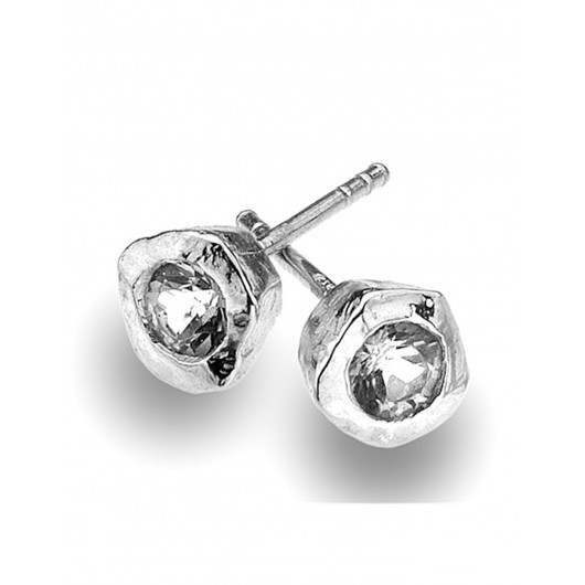 Beautiful Sea Gems Solid Silver Cubic Zirconia Stud Earrings