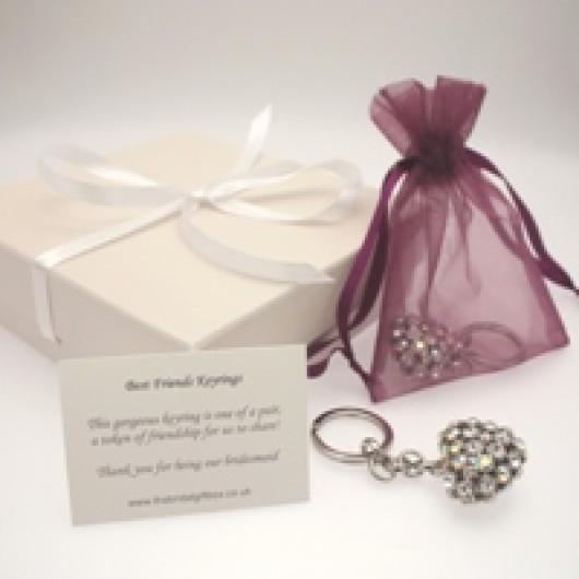 Pair of Swarovski Crystal Heart Best Friends Keyrings - With Card