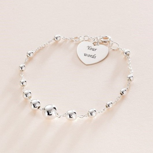 Sterling Silver Beaded Bracelet With Engraved Heart