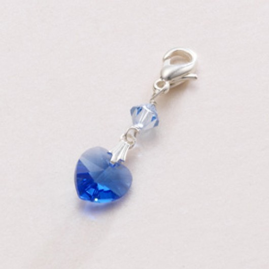 Something Blue Crystal Heart Charm