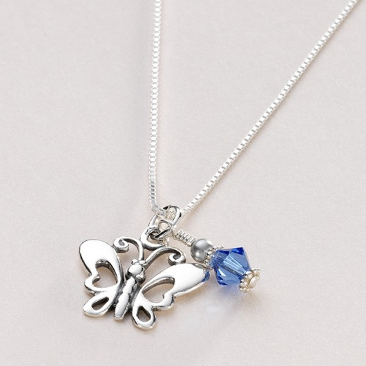 Pretty Girls Butterfly Birthstone Necklace