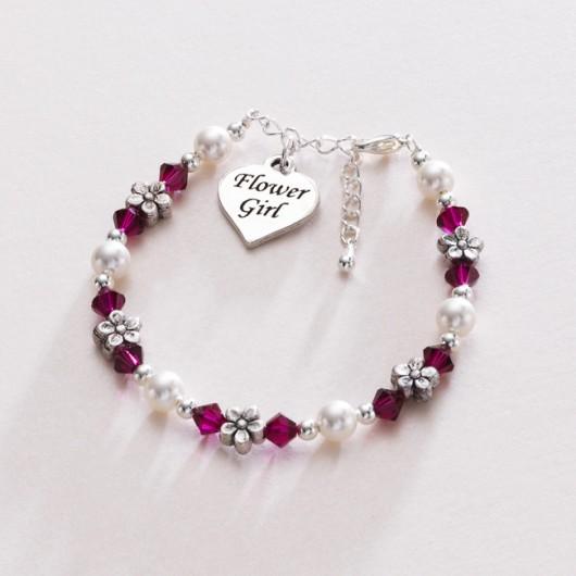 Flower Girl Love Heart Bracelet