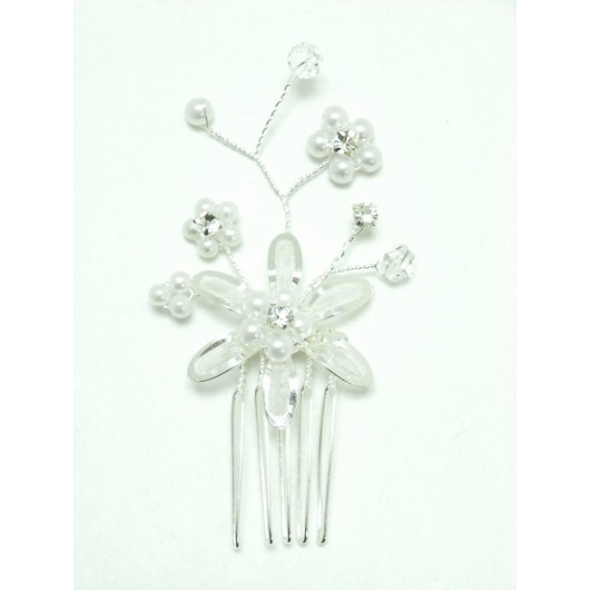Beautiful Silver Pearl Crystal Spray Hair Comb