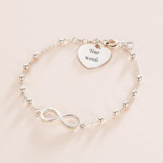 Sterling Silver Infinity Link Bracelet With Engraving