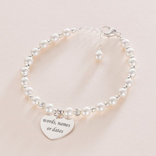 Silver Bead & Pearl Bracelet With Engraved Heart