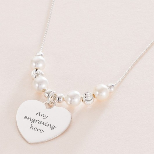 Silver Bead & Pearl Necklace With Engraved Heart