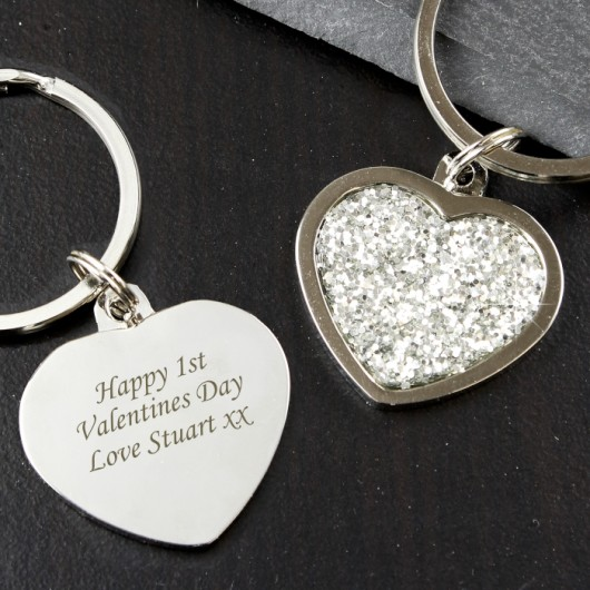 Personalised Diamante Heart Keyring
