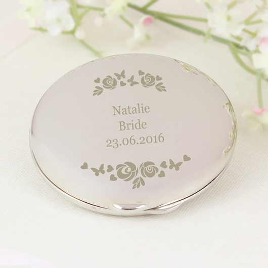 Vintage Rose Personalised Compact Mirror