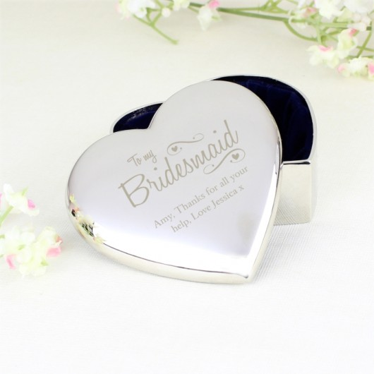 Bridesmaid Swirls & Hearts Trinket Box - Personalised