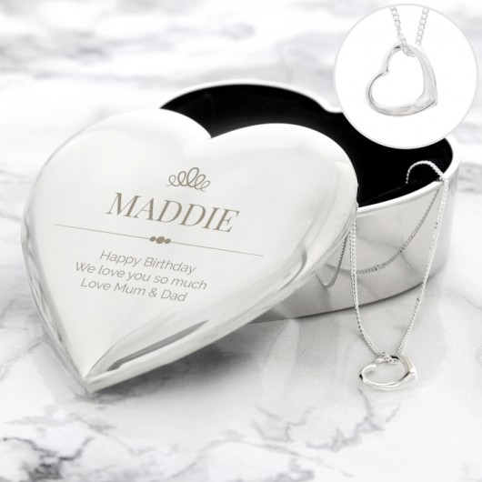 Elegant Crown - Personalised Heart Trinket Box & Necklace