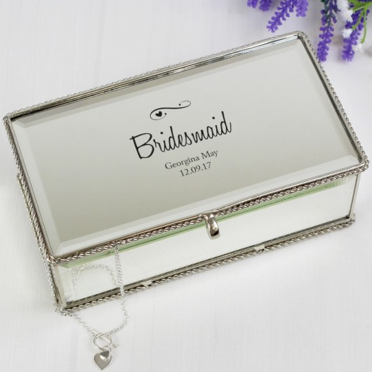 Swirl & Heart Personalised  Mirrored Jewellery Box
