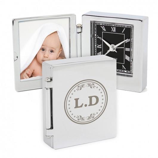 Personalised Monogram Photo Frame Travel Clock