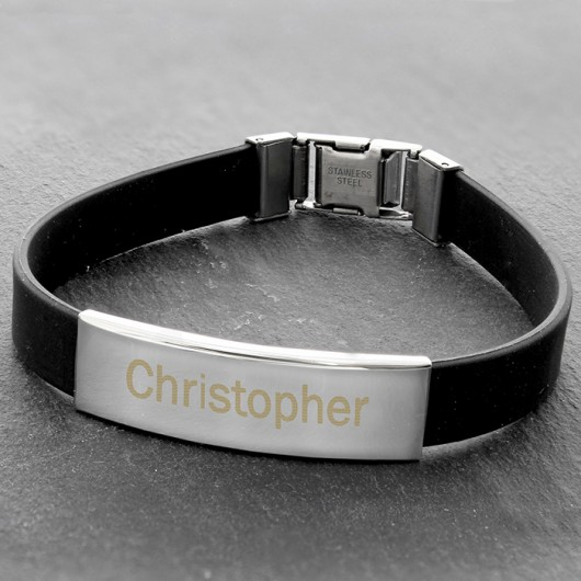 Personalised Male Rubber And Steel Bracelet