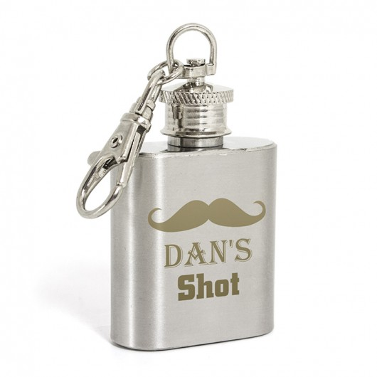Personalised Moustache 1oz Hip Flask Keyring