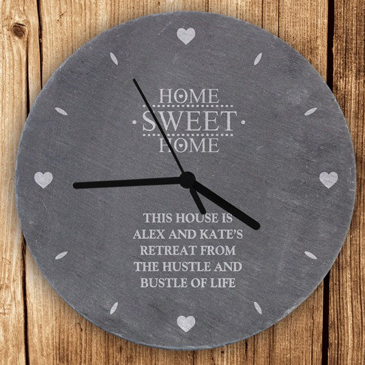 Personalised Home Sweet Home Slate Clock