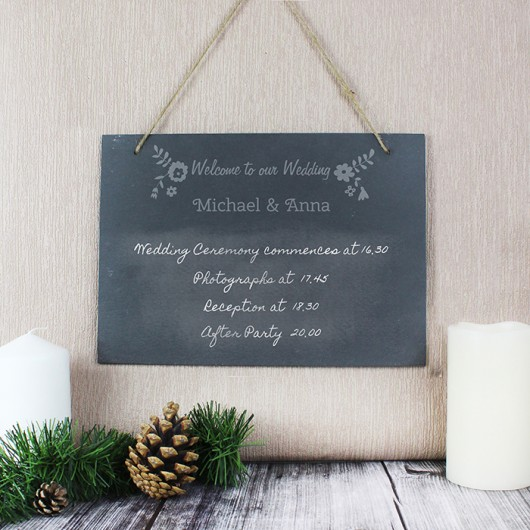 Wedding Flowers Personalised Hanging Slate Sign