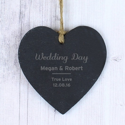 Classic Slate Heart Personalised Decoration