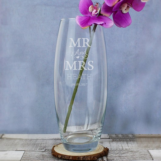Personalised Mr & Mrs Bullet Vase