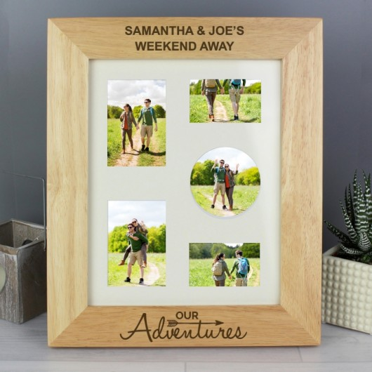 Personalised 'Our Adventures'  Wooden Photo Frame