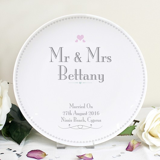 Decorative Mr & Mrs Personalised Wedding Plate