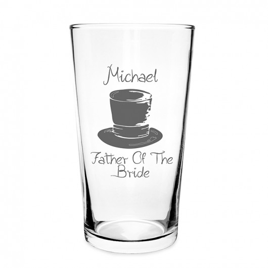 Personalised Wedding Top Hat Pilsner Glass
