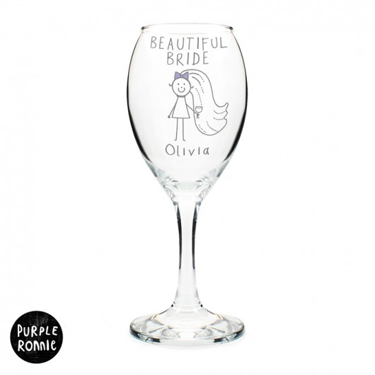 Purple Ronnie Bride Wine Glass