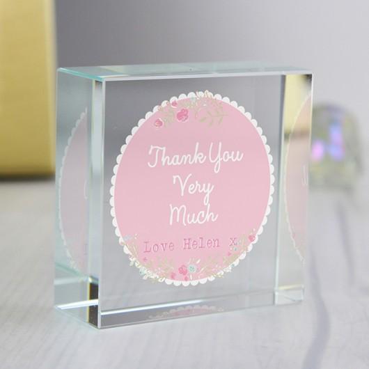 Personalised Pink Floral Crystal Token